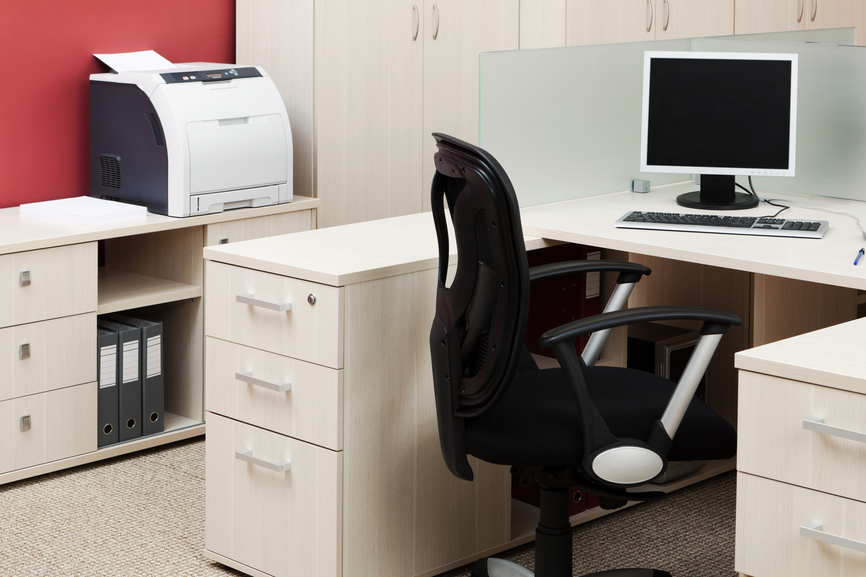 computer and printer in a modern office